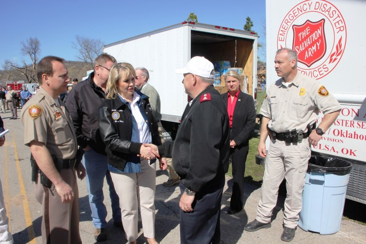Salvation Army Visits with Governor during Tour of Devastation