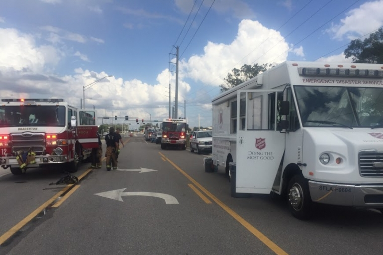 The Salvation Army Supports Fire Fighters at Tire Factory Fire in Bradenton, FL