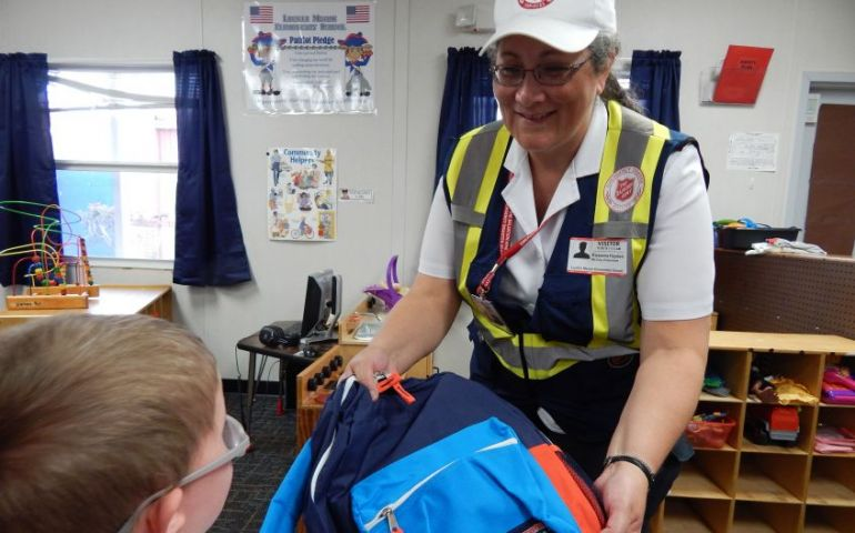 Salvation Army Distributes Backpacks to Students Affected by Hurricane Michael