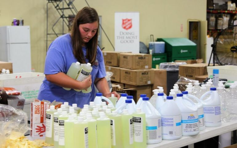 Salvation Army Volunteers Pack Clean-Up Kits As Hurricane Dorian Heads Up Florida Coast