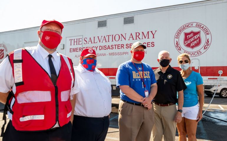 Lake Charles Mayor Nic Hunter Visits Salvation Army Hurricane Laura Relief Operations