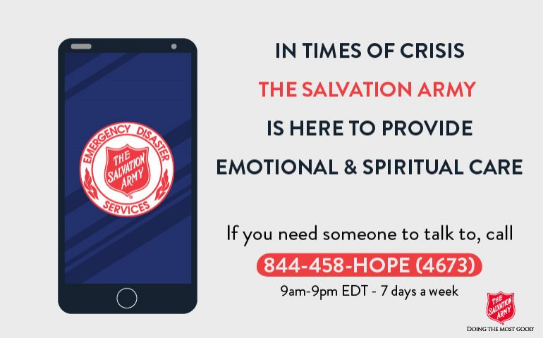 Coronavirus Update: Salvation Army Emotional & Spiritual Care Hotline - 844-458-HOPE (4673)