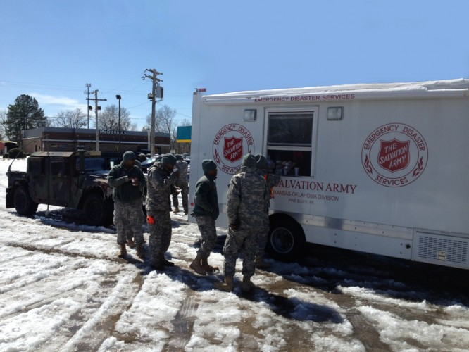 The Salvation Army  -  A Welcome Sight to Cold Workers