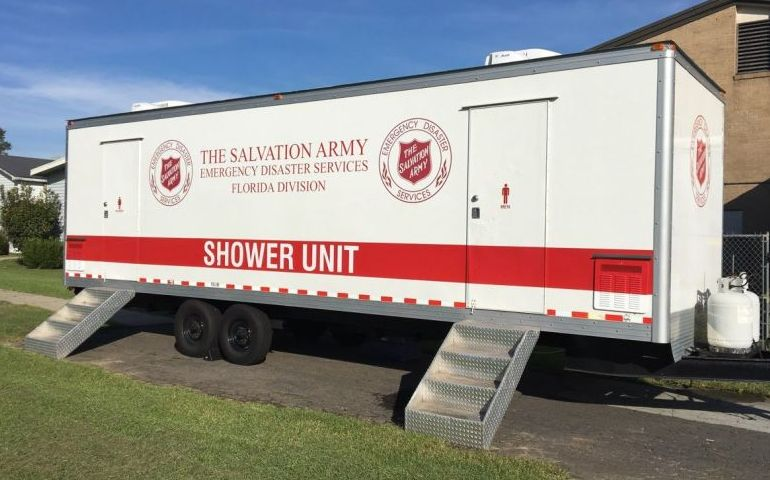 Salvation Army Provides Showers in the Aftermath of Hurricane Florence