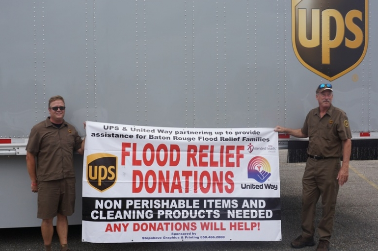 UPS Employees Deliver Two Truck Loads of Supplies for Flood Relief
