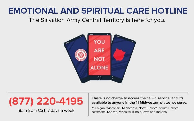 The Salvation Army Central Territory Launches Emotional and Spiritual Care Hotline